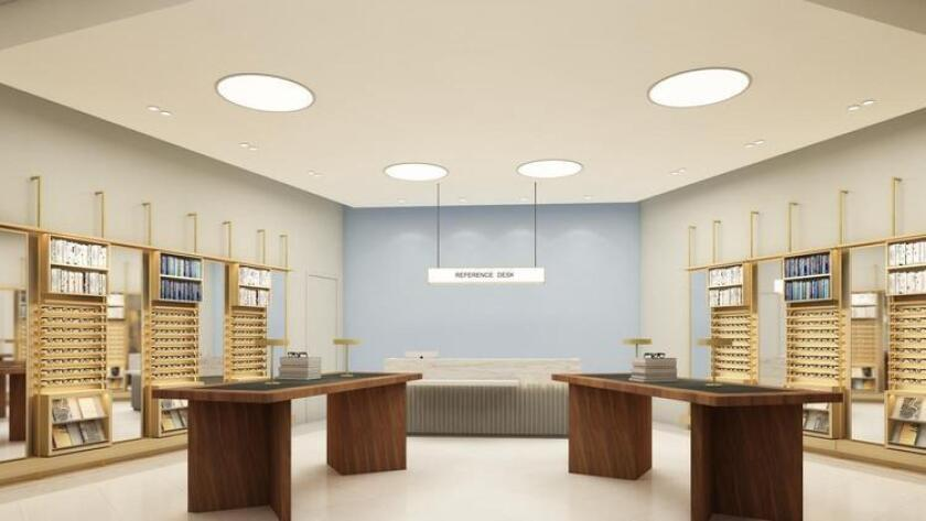 Warby Parker at Westfield UTC interior rendering (Courtesy photo)