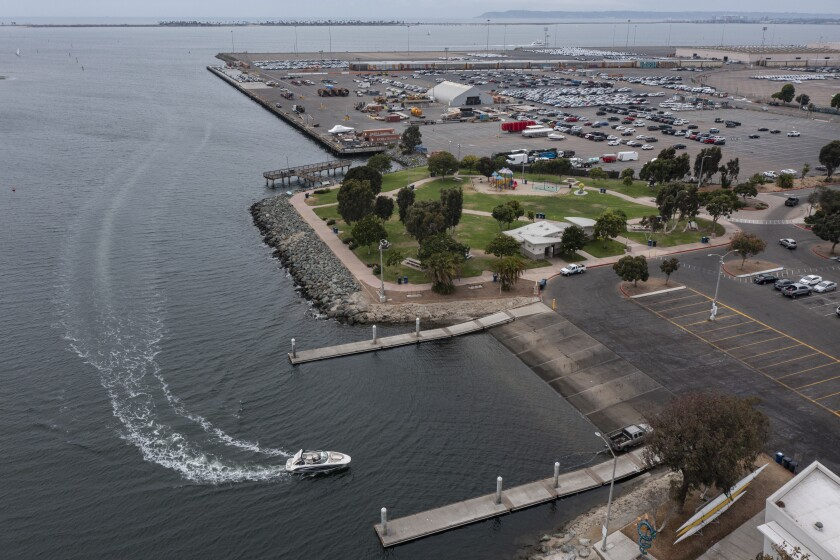 A boat pulls up to the Pepper Park Boat Launch Ramp on Wednesday in National City.