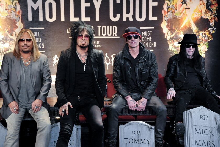 After more than three decades together, Motley Crue says it's splitting for good. Making the announcement Tuesday were, from left, band members Vince Neil, Nikki Sixx, Tommy Lee and Mick Mars.