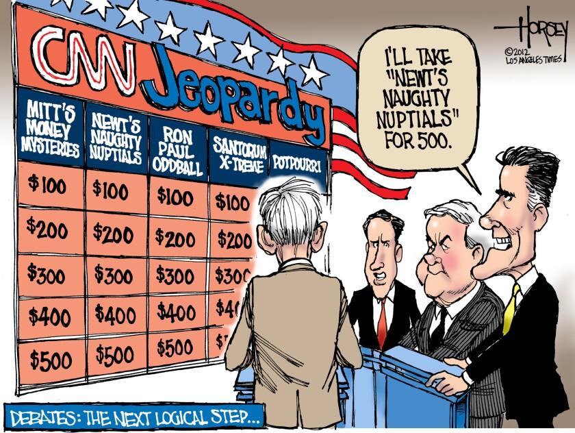 Newt Gingrich, Mitt Romney debate game show