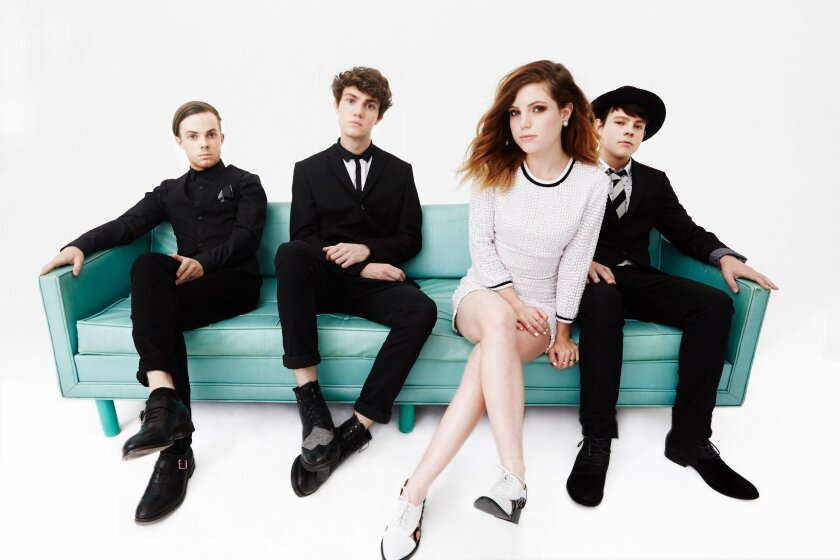 The Los Angeles-based alt-pop quartet Echosmith is comprised of siblings (from left) Jamie, Noah, Sydney and Graham.