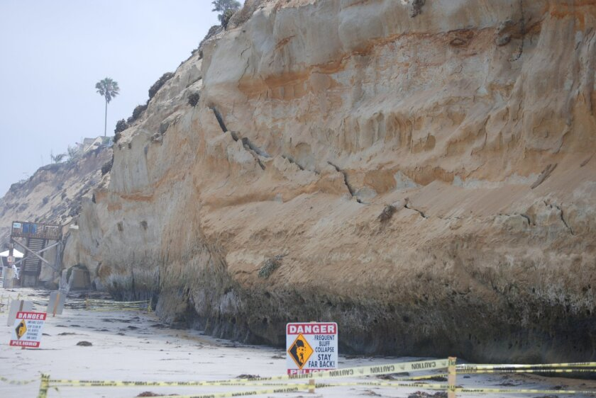 A jagged crack near the base of a bluff in Encinitas is an early indication that the bluff will fail. A U.S. Army Corps of Engineers study for Encinitas and nearby Solana Beach proposes restoration efforts to protect the shoreline, making circumstances such as this less likely.
