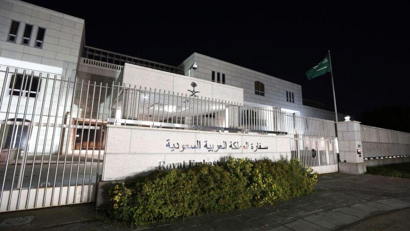 The Saudi Arabian Embassy is shown in Ottawa, Canada, on Sunday, Aug. 5, 2018. Saudi Arabia has orde