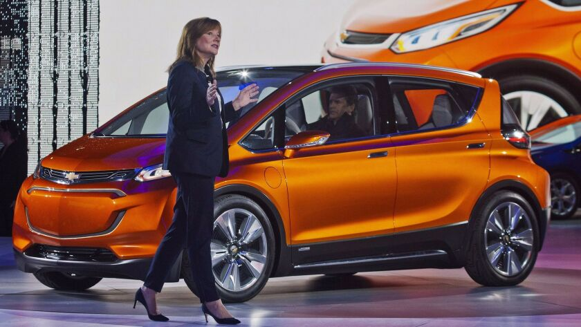 General Motors CEO Mary Barra introducing the Chevy Bolt in 2017.
