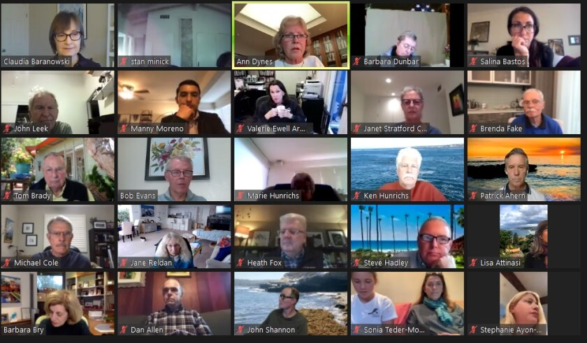 La Jolla Parks & Beaches members attend their Dec. 7 meeting on Zoom.