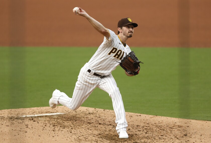 Padres pitcher Zach Davies throws against the Colorado Rockies on Wednesday.