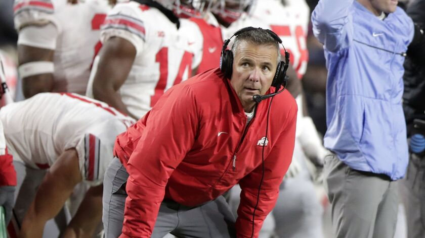 Ohio State head coach Urban Meyer watches from the sideline during the first half against Purdue, in West Lafayette, Ind. on Oct. 20, 2018.