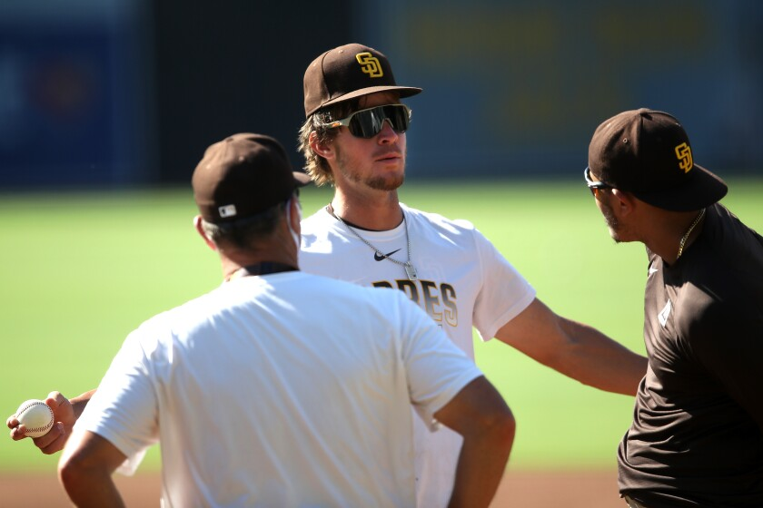Wil Myers, center, talks with Manny Machado, right, and coach Bobby Dickerson during summer camp.