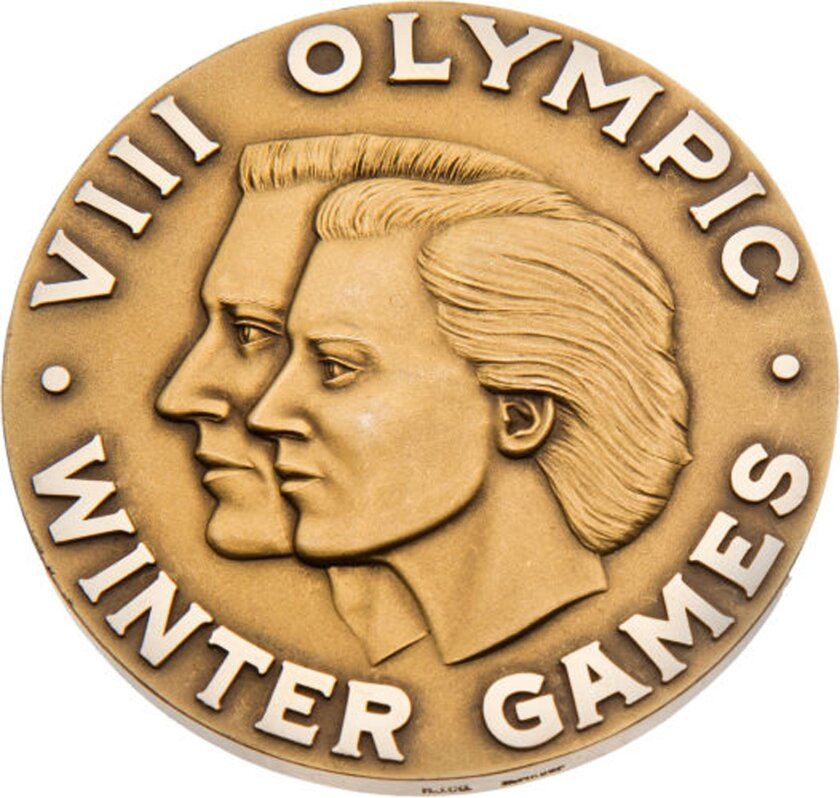 This handout provided by Heritage Auctions shows the 1960 Olympic Gold medal presented to U.S. hockey player Bill Christian. Father and son Bill Christian and Dave Christian have put their Olympic gold medals, among many other items, up for auction this month. The memorabilia is valuable, but the m