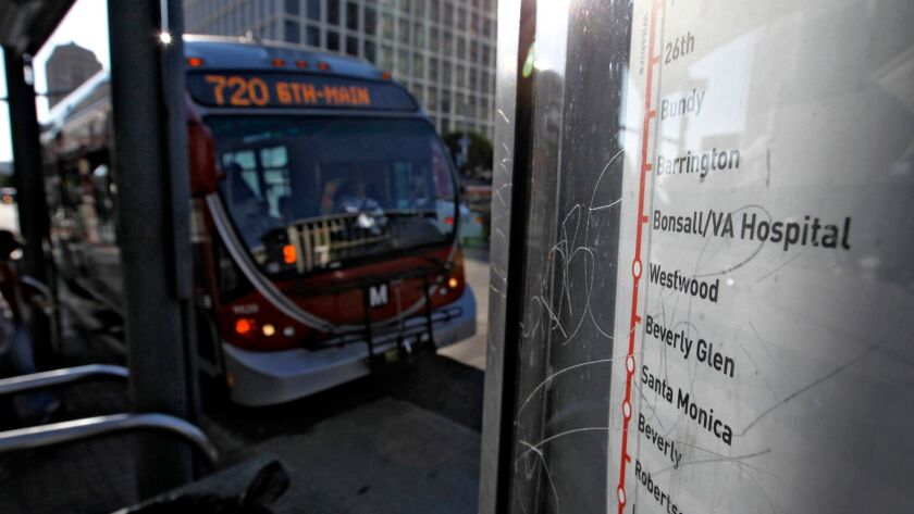 A map of the Metro Rapid 720 route is displayed at the bus stop at Wilshire and Western on June 7, 2011.