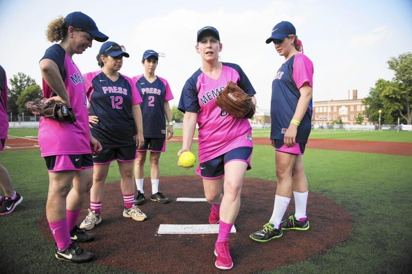 Sen. Kirsten Gillibrand at a Congressional Women's Softball game