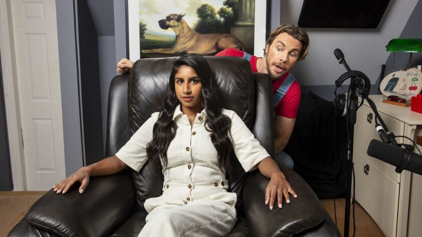 """LOS ANGELES, CA--APRIL 18, 2019--Actor Dax Shepard and """"Armchair Expert"""" podcast co-host Monica Padm"""