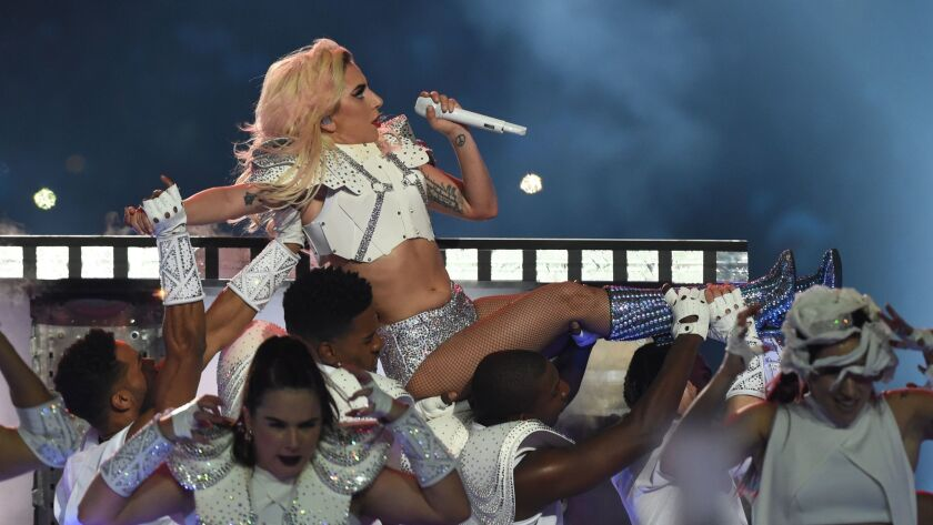 Lady Gaga performs Sunday during the Super Bowl halftime show.