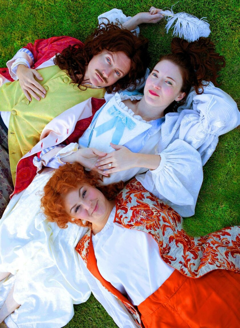 """Clockwise from top left: David McBean, Jo Anne Glover and Jacque Wilke in """"Or,"""" at Moxie Theatre. Erin Bigley"""