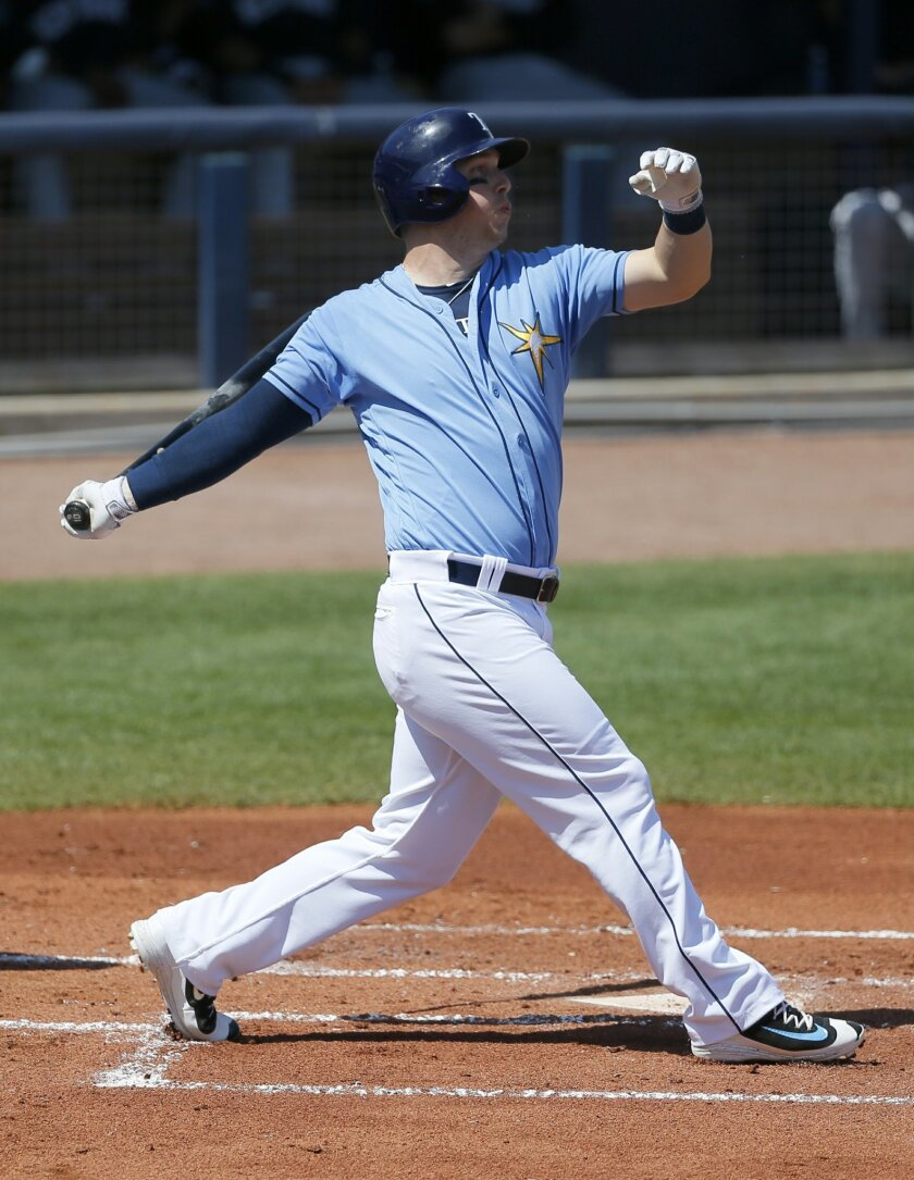FILE - In this march 12, 2016, file photo, Tampa Bay Rays' Corey Dickerson follows through on a swing at a pitch from New York Yankees starting pitcher Luis Severino during a spring training baseball game in Port Charlotte, Fla. From a pitching rotation that has the potential to be one of the best in the American League to an improved offense bolstered through trades and some modest spending in free agency, the Rays feel they have everything it takes to reach the playoffs after finishing with losing records the past two years. (AP Photo/Tony Gutierrez, File)