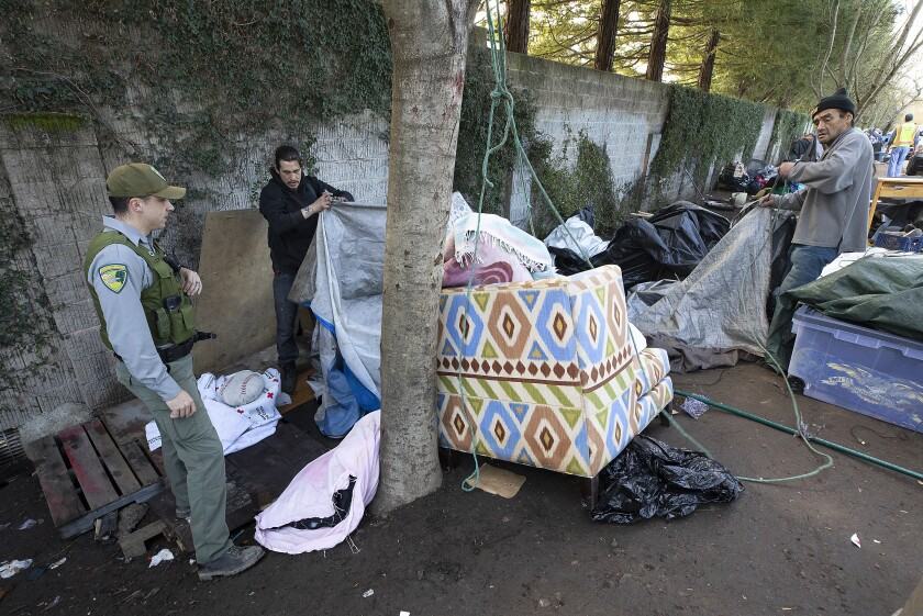 Homeless campers on the Joe Rodota Trail in Santa Rosa