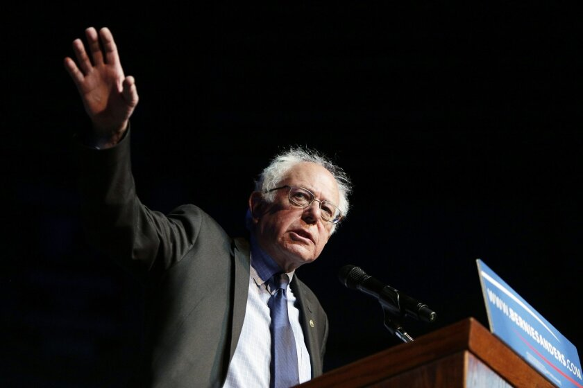 Democratic presidential candidate Sen. Bernie Sanders, I-Vt., speaks at a campaign rally in Spokane, Wash., Thursday, March 24, 2016. (AP Photo/Young Kwak)