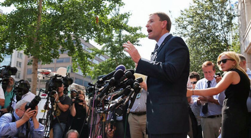 Tony Perkins, president of the Family Research Council, speaks at a news conference about the shooting this week at the group's Washington headquarters.