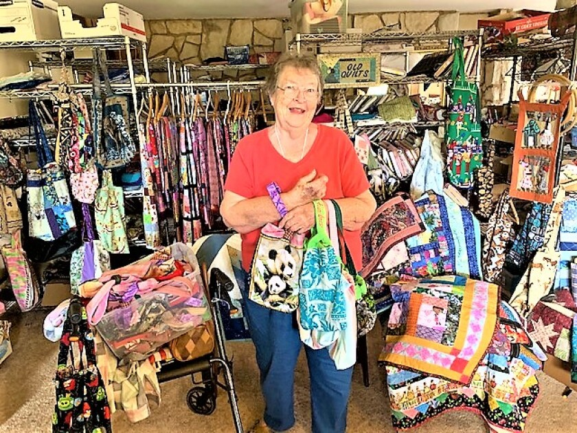 Patsy Ford is standing in the living room of her apartment in Spring Valley. All around her are colorful pouches she has hand-made to do her part in helping the orphaned and displaced wildlife in Australia where brush fires are burning out of control. A lifetime quilter, she is making pouches primarily for baby kangaroos and wallabies.