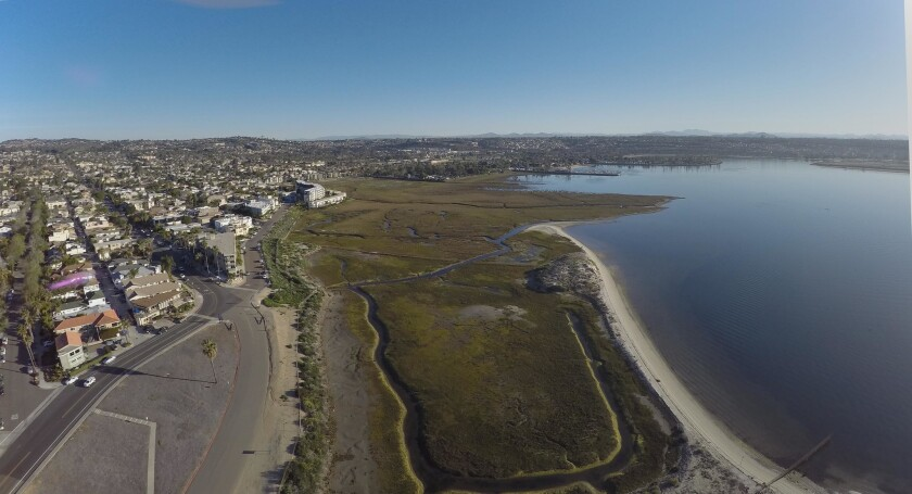 SAN DIEGO -- Marshland in Mission Bay Park would expand under plans proposed by the Audubon Society. JOHN GIBBINS / San Diego Union-Tribune)
