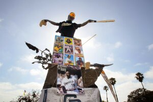 View of the Cardiff Kook statue on S. Coast Highway 101 at Chesterfield Drive in the Cardiff area, done-up in honor of Tony Gwynn.