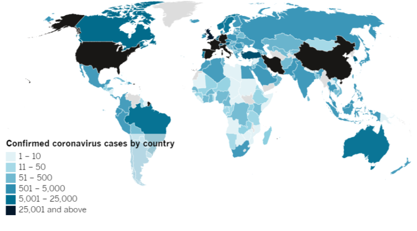 Confirmed COVID-19 cases by country as of 4:00 p.m. Tuesday, March 31, 2020.