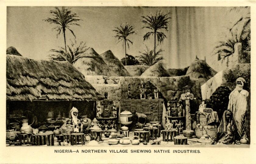 """Nigeria — A Northern Village Shewing Native Industries"""