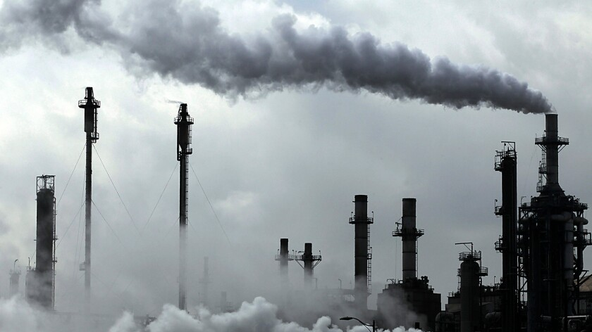 A Conoco Phillips refinery in the Wilmington neighborhood of Los Angeles pumps out emissions while producing gasoline.