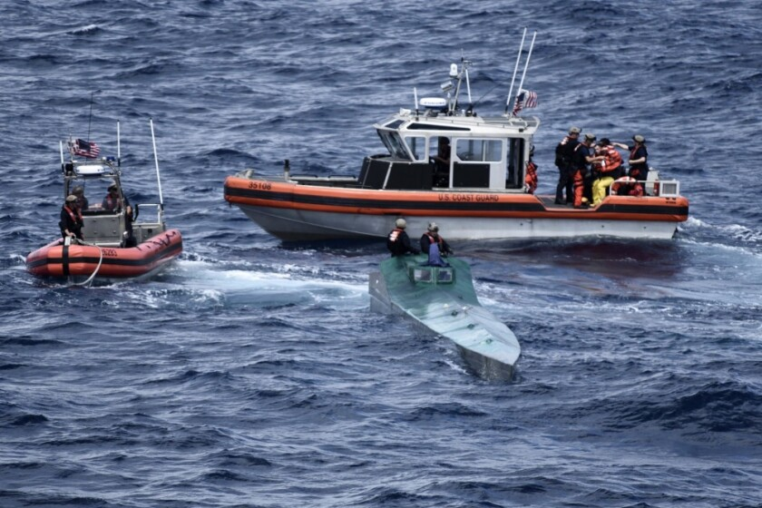 Crew members from the Coast Guard Cutter Bertholf interdicted a low-profile vessel while patrolling international waters in the eastern Pacific Ocean in November and seized more than 3,100 pounds of suspected cocaine from the vessel.