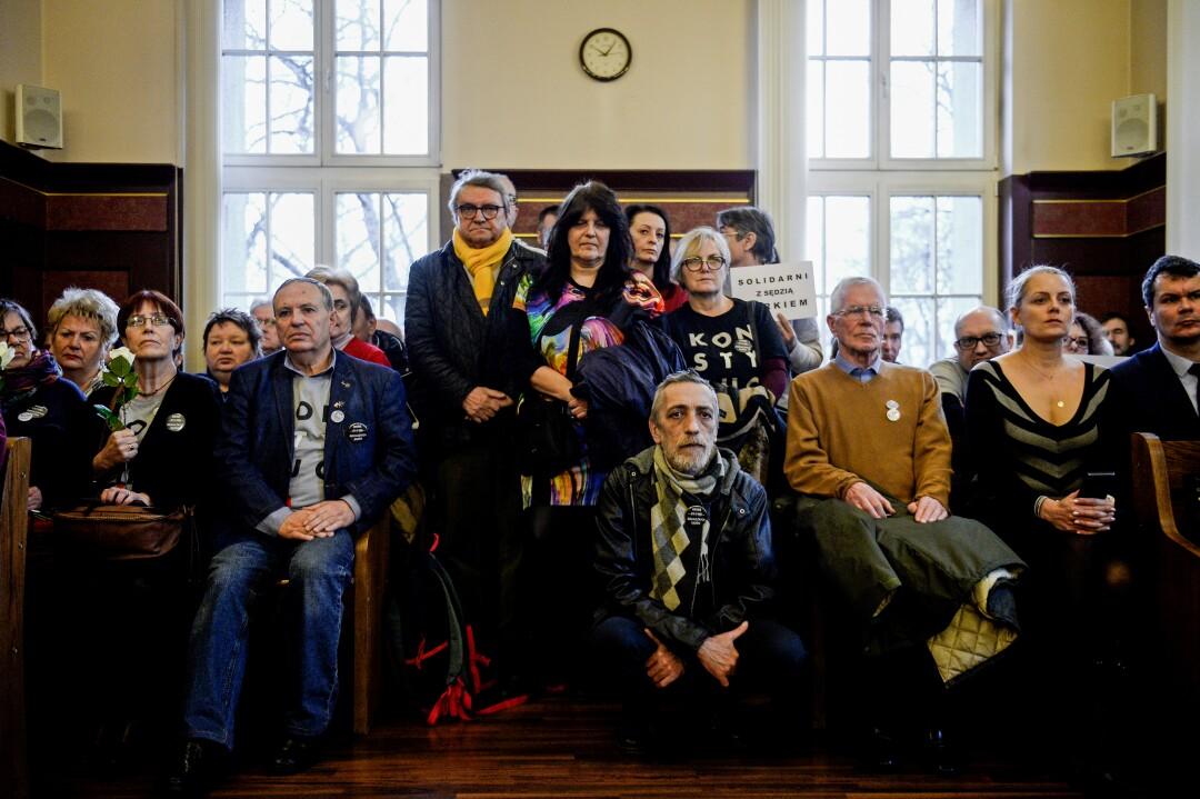 Demonstrators attend a hearing in Katowice, Poland, to support Judge Waldemar Zurek.