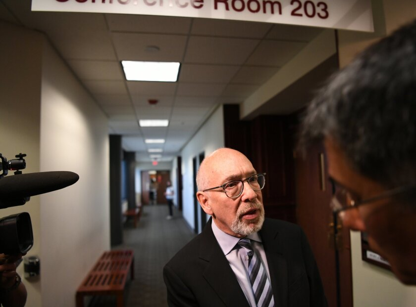 Marc Bern, attorney for the shooting victims, speaks to the media at Arapahoe County Justice Center in Centennial, Thursday, May 19, 2016. The owner of a Colorado movie theater could not have predicted the 2012 shooting that left 12 people dead, a jury decided Thursday, (RJ Sangosti/The Denver Post via AP)