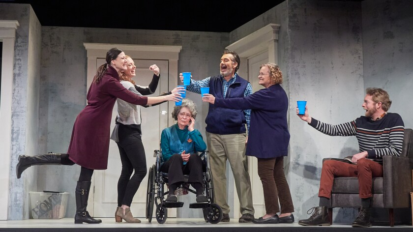 "Amanda Sitton, Kate Rose Reynolds, Rosina Reynolds, Jeffrey Meek, Elizabeth Dennehy and Brian Mackey (from left) in San Diego Rep's ""The Humans."""