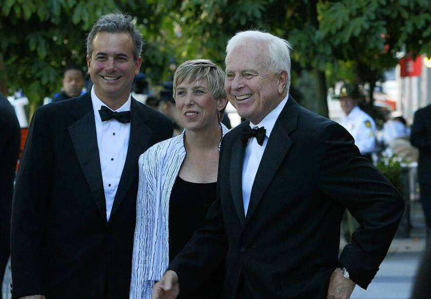 Wendy Greuel, center, shown in 2005, on Wednesday received the endorsement of former L.A. Mayor Richard Riordan, right, for her own mayoral bid. Greuel said she has asked Riordan to serve on her staff to help connect the business community with organized labor.