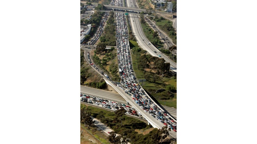 This file photo shows a terrible traffic jam on southbound 5 and 805 freeways as the highways merge near the San Ysidro Port of Entry, the world's busiest border crossing, linking San Diego and Tijuana, Mexico. This backup occurred in May 2006.