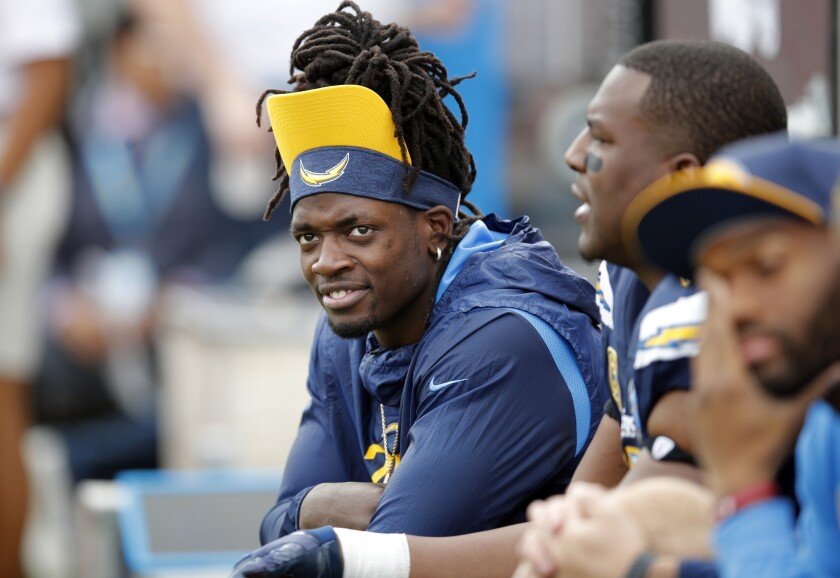 Los Angeles Chargers running back Melvin Gordon looks on from the sidelineduring the first half of a