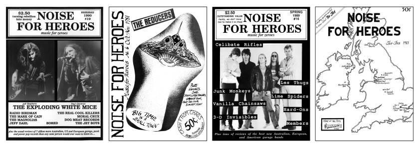 Covers from past issues of the Noises for Heroes rock 'n' roll fanzine.