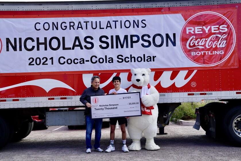 Pacific Ridge School senior Nick Simpson has been named a 2021 Coca-Cola Scholar, receiving a $20,000 college scholarship.