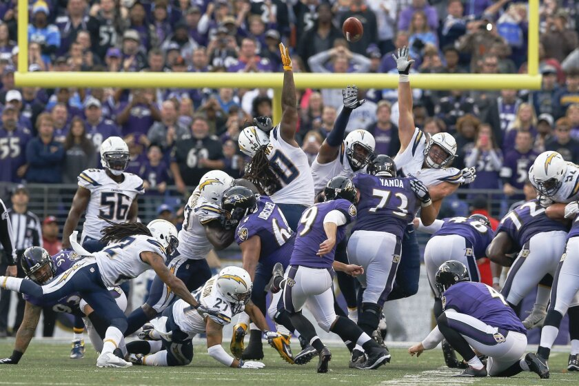 Baltimore Ravens kicker Justin Tucker (9) kicks the game winning field goal during the second half of an NFL football game against the San Diego Chargers in Baltimore, Sunday, Nov. 1, 2015. The Ravens defeated the Chargers 29-26. (AP Photo/Patrick Semansky)