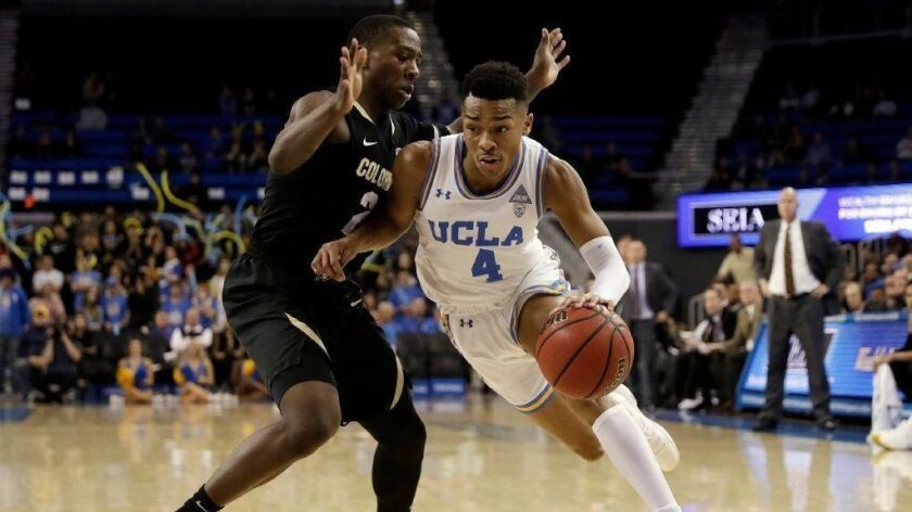 UCLA guard Jaylen Hands, right, dribbles next to Colorado guard McKinley Wright IV during the second half of Wednesday's loss.