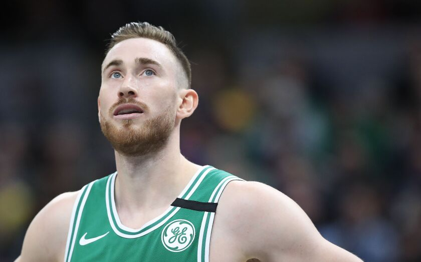 Boston Celtics' Gordon Hayward checks the scoreboard during a game against the Indiana Pacers on March 10, 2020, in Indianapolis.