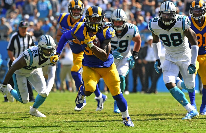 Rams running back Todd Gurley carries the ball during a game against the Panthers on Sept. 8.