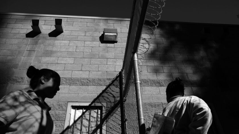 LOS ANGELES-MT- September 27, 2015 - Camp Scott detains some 48 youths on the average. here, some of