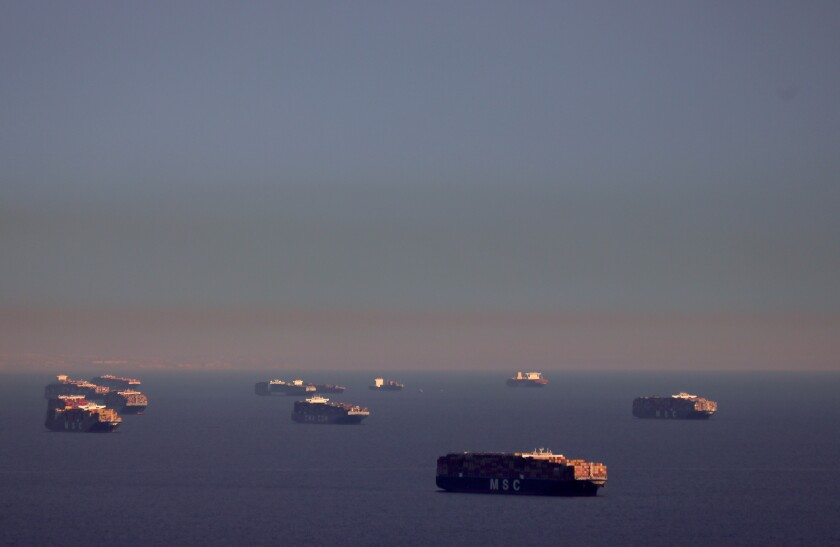 Container ships have been idling off the California coast while waiting to unload cargo.