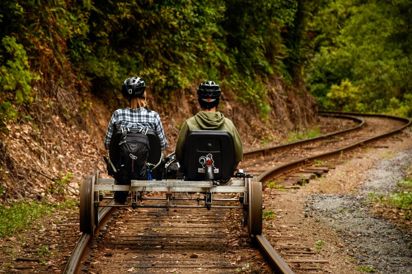 Riders pedal a railbike on railroad tracks through a redwood forest.
