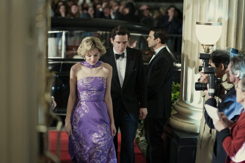 "Emma Corrin as Princess Diana and Josh O'Connor as Prince Charles in ""The Crown"""