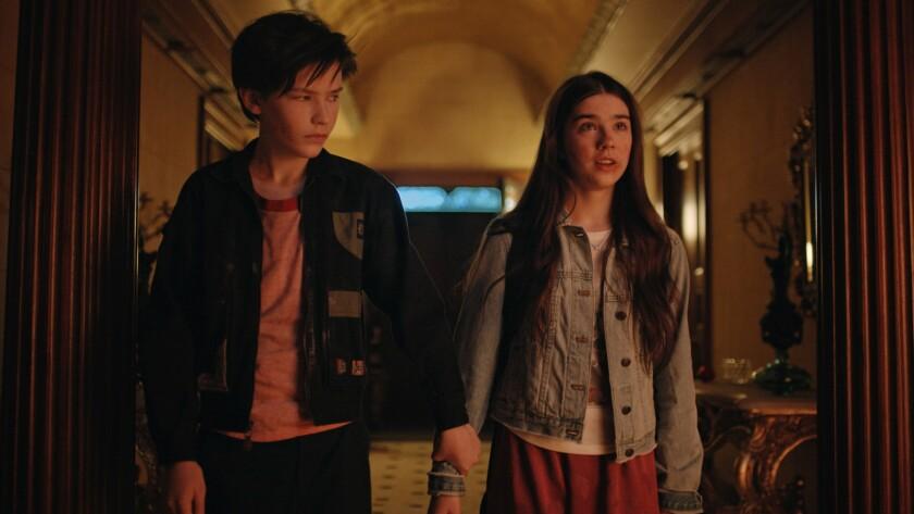 "Luke Prael and Sterling Jerins in the movie ""Boarding School."""