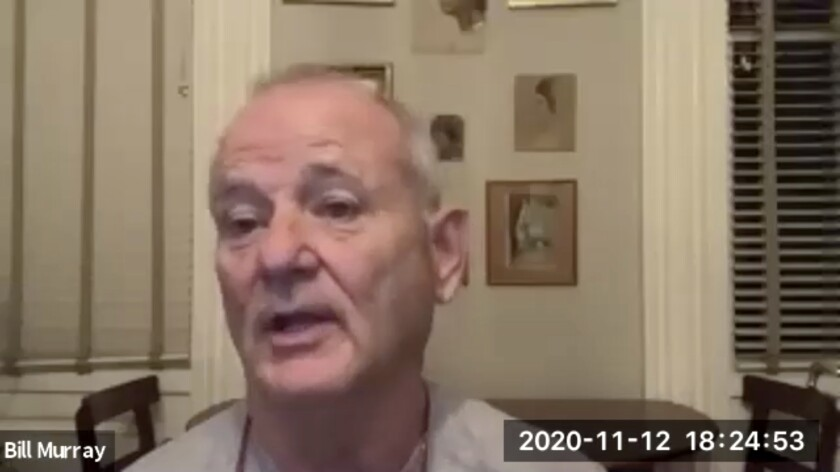 "In this November 12, 2020 image taken from video, actor Bill Murray takes part in a virtual production of ""Poetry for the Pandemic."" Murray is set to play Job in a biblical reading designed to spark meaningful conversations across spiritual and political divides. (Theater of War Productions via AP)"