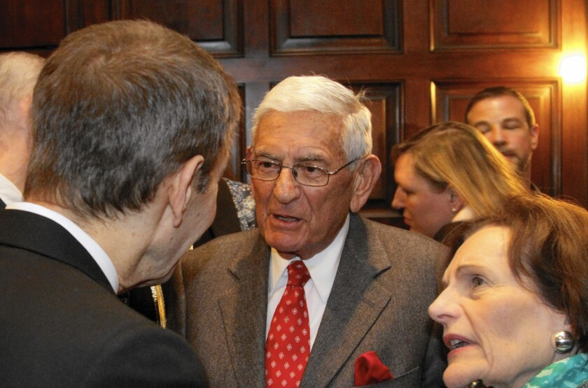 A $50,000 donation by Eli Broad to a charter school PAC was among those disclosed after the L.A. school board election. Pictured are Broad and his wife, Edythe.