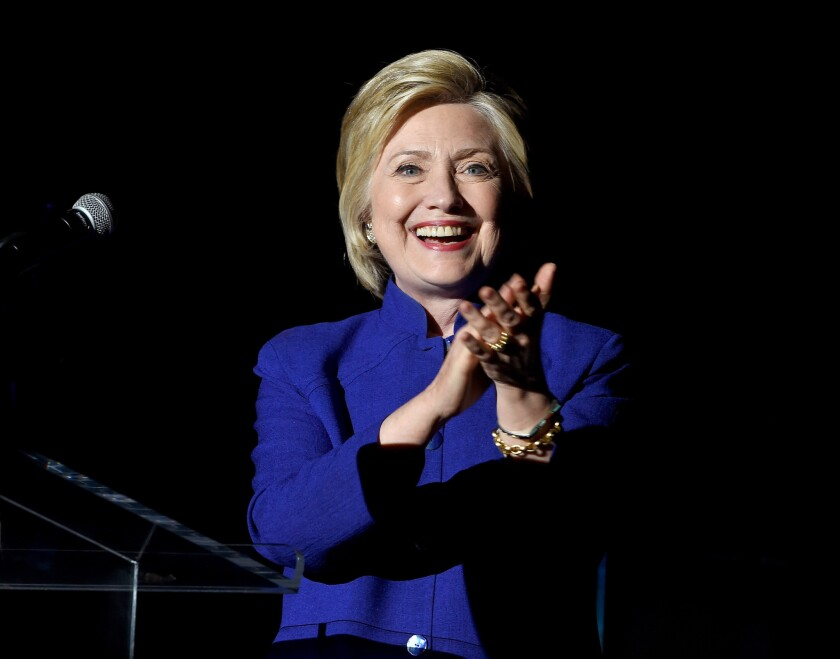 Hillary Clinton at a campaign event Monday night in Los Angeles.