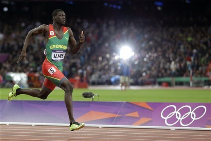 Grenada's Kirani James competes in the men's 400-meter final during the athletics in the Olympic Stadium at the 2012 Summer Olympics, London, Monday, Aug. 6, 2012. (AP Photo/Matt Slocum)